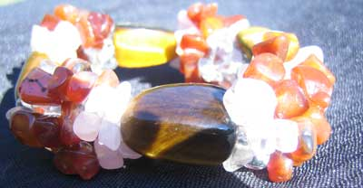 Tigers Eye; Rose Quartz; Carnelian and Clear Quartz Bracelet