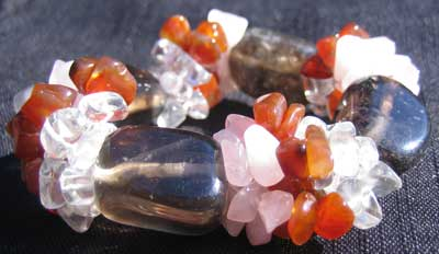 Smokey Quartz; Carnelian; Rose Quartz; Clear Quartz