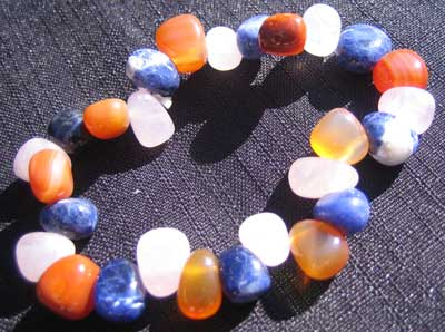 Sodalite; Rose Quartz and Carnelian bracelet