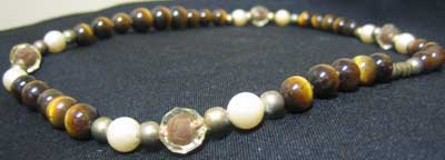 Tiger Eye Bead with Pearl