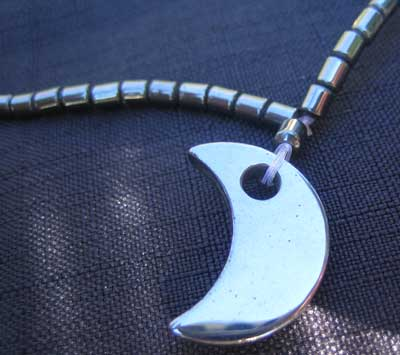 Hematite necklace with moon detail