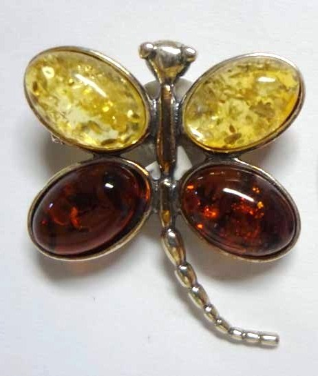 Amber Dragon Fly Brooch