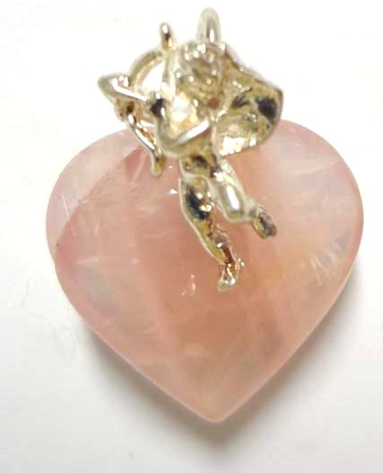 Rose Quartz Hart with Sterling Silver Angel