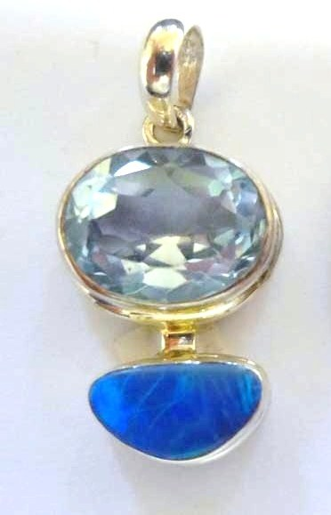 Blue Topaz with Opal