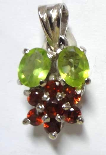 faceted Garnet and Peridot Pendant