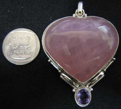 Rose Quartz Heart With Amethyst