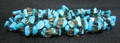 Blue Magnesite and Smokey Quartz Bracelet