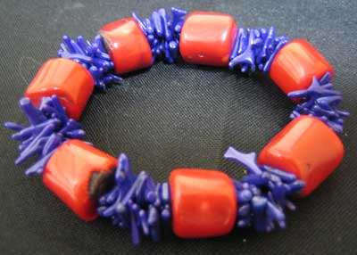 Red and purple coral bracelet