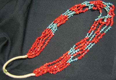 Coral & Turquoise Necklace beaded