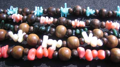 Coral and Wooden Bead Necklace (Long)