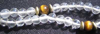 Quartz and Tigers Eye Bead Necklace