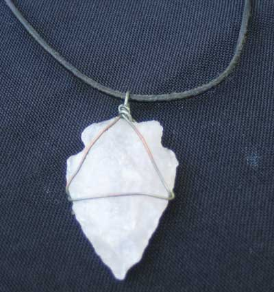 Rose Quartz Arrowhead on leather thong