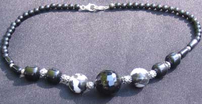 Black Onyx like beaded necklace