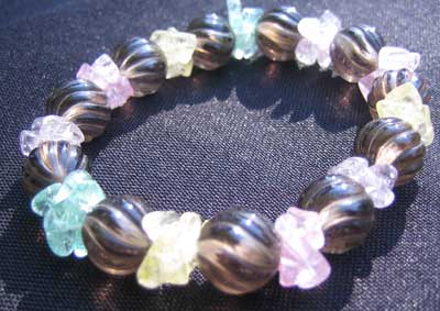 Smokey type bead and coloured crystal bracelet